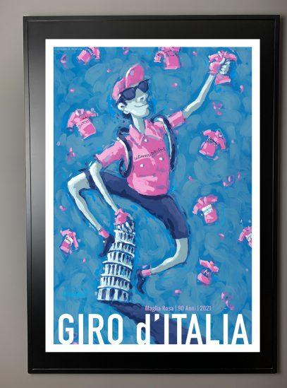Valenti Cycling Art Giro 2021 Maglia Rosa in a frame.