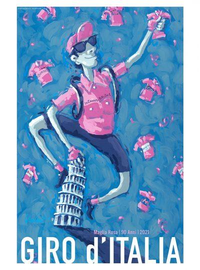 Valenti Cycling Art Giro 2021 Maglia Rosa Cycling Art Print_Product Image