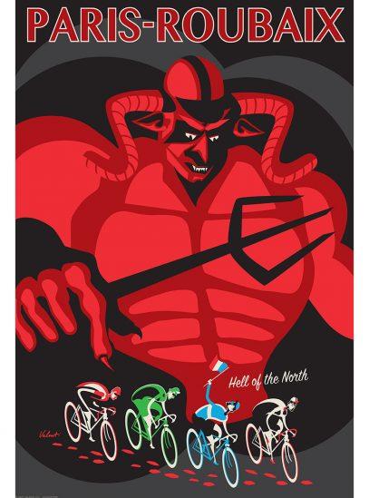 Paris-Roubaix Devil Cycling Art Print | Full Image | Valenti