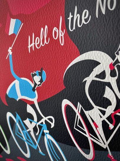Paris-Roubaix Devil Cycling Art Print on Watercolor Paper | Rider Detail | Valenti