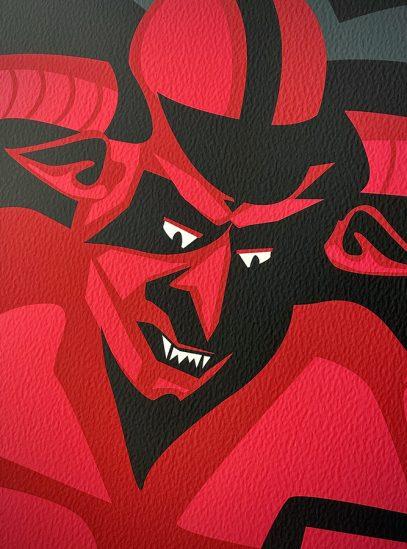 Paris-Roubaix Devil Cycling Art Print on Watercolor Paper | Devil Detail | Valenti