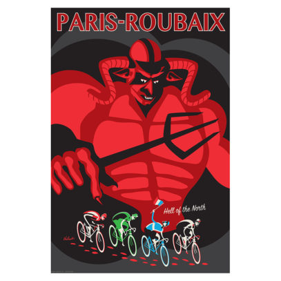 Paris-Roubaix Devil Cycling Art Print | Product Image | Valenti