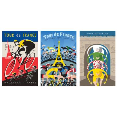 Set of Three TDF Iconic Prints