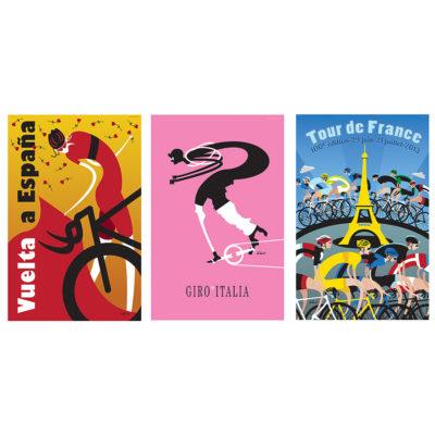 Three Grand Tours Cycling Art Print