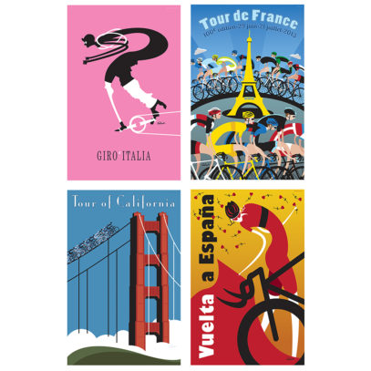 Four Grand Tours Cycling Art Print Set