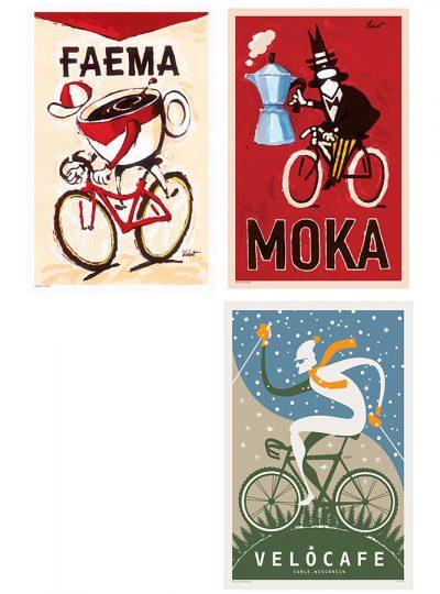 Three Coffee Prints | Cycling Art Print Set