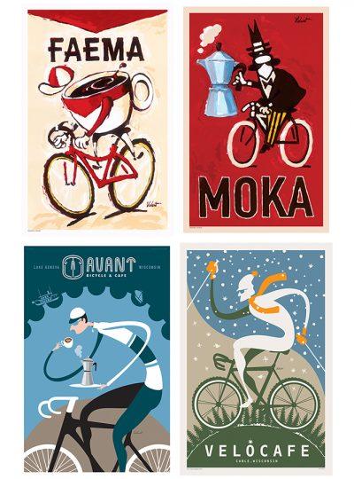 Four Coffee Prints  | Cycling Art Print Set