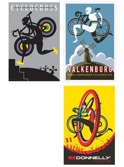 Three Cyclocross Prints | Cycling Art Print Set