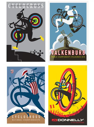Four Cyclocross Prints | Cycling Art Print Set