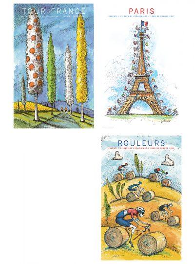 Three TDF Fantasy Prints  | Cycling Art Print Set