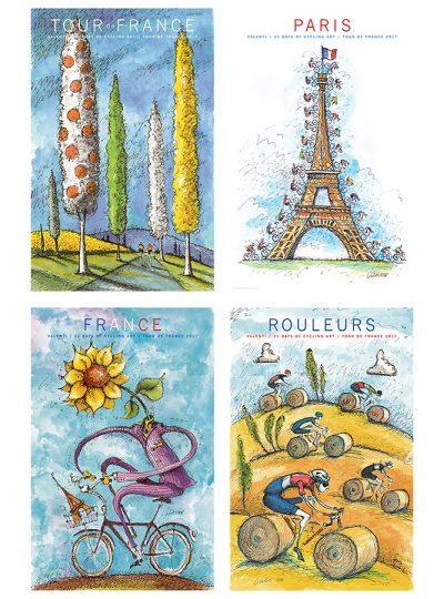 Four TDF Fantasy Prints  | Cycling Art Print Set