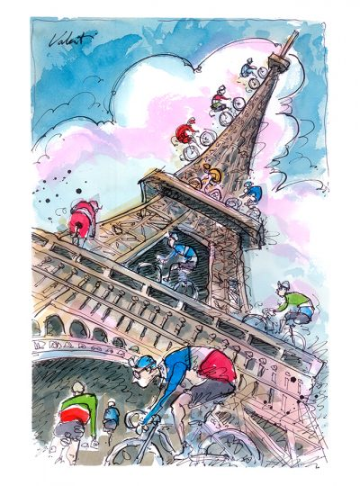 Climbing the Eiffel | Original Cycling Art