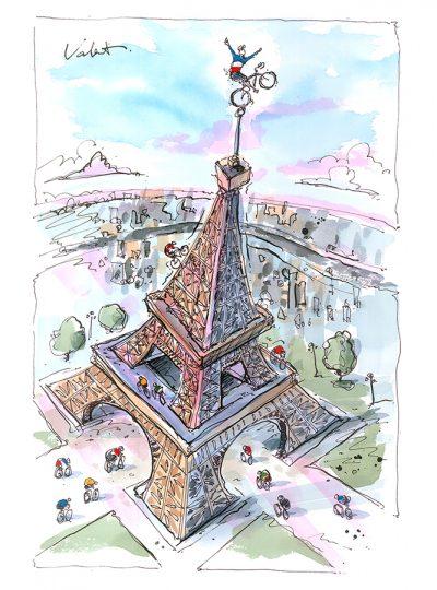 Top of the Eiffel | Original Cycling Art
